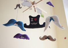 Baby Crib Mobile - Music Baby Mobile - Felt Mobile - Nursery mobile - Funny Moustache - Mustache mobile. $80.00, via Etsy.