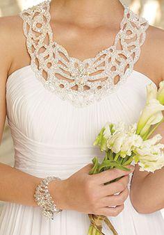 Grecian collar wedding dress