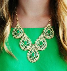 Emerald green statement necklace by Kristin Hassan