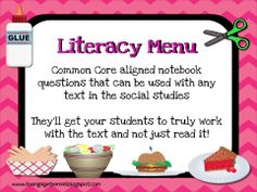 "You and your students are going to love the way this menu allows your students to attack a reading with more depth.  My kids truly understood the reading once we started to use this in the classroom.  The questions are based on Bloom's Taxonomy and ask for more thinking as they get further into the ""meal"".  Although this was created for an interactive notebook (you'll need to print out the menu double sided) it can be used in a binder or folder as well."