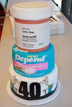 HA! Geriatric 40th Birthday Cake over the hill remedy cake.  Someone is SO getting this at some point...just not sure who yet...