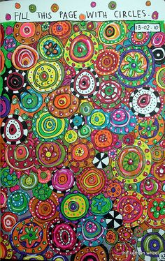Group project for auction… or early finishers. Fill this page with circles by thekathrynwheel, via Flickr  could be an ongoing art project - students color and cut out circles and add them to the mural? Or each draw one circle?