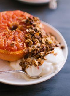Broiled Grapefruit with Honey Yogurt and Granola