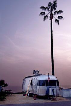 palm, dream, beach houses, trailer trash, road trips, at the beach, beach camping, the road, airstream trailers