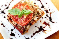 eggplant lasagna, rustic bread