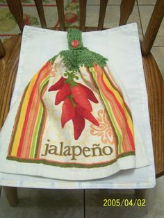 Jalapeno Peppers Crochet Top Kitchen Towel by kayandgirlscrafts, $2.85