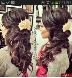 bridesmaid hair, curled hairstyles with braids, getting married, purple flowers, braid and curls hairstyles