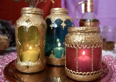 puffy paint, candle holders, old jars, moroccan style, mason jars, puff paint, diy projects, candle jars, glass paint