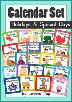 Calendar Cards Set: Holidays and Special Days