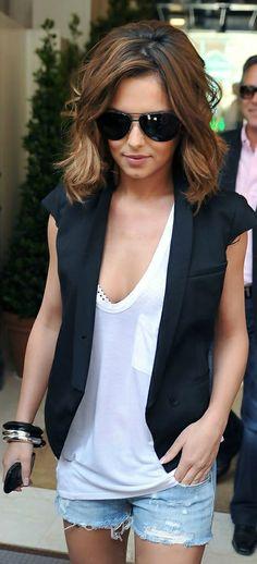 Black vest, white tank, jean shorts. Summer style perfection.