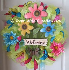 Welcome Flower Deco Mesh Wreath