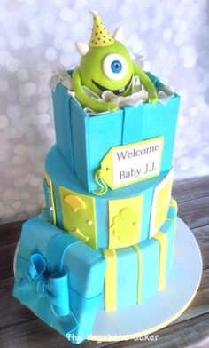 inc baby shower cake via craftsy more baby shower cakes monsters inc