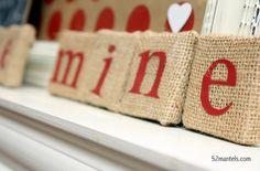 valentine's burlap blocks - Use Black letters to look like Scrabble tiles