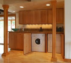 laundry room hidden in the kitchen...open design