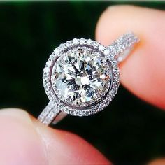MY SECOND DREAM RING! This is actually growing on me a lot!! 1.50ct. Round - Halo - Pave - Antique Style - Diamond Engagement Ring