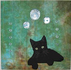 art quilt, cat quilt, black cat, cathi breedyk
