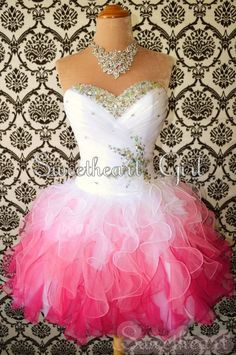 Sweetheart White/Red Mini Rhinestone Organza prom dress/homecoming dress