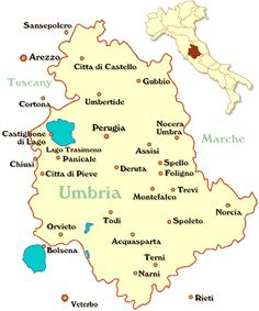 map of Umbria in Italy
