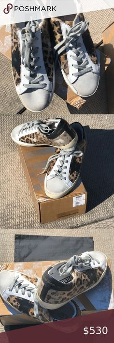 NEW! Golden Goose Snow Leopard Black Star, 36 Brand NEW In Box! Golden Goose Snow Leopard Black Star Superstar sneakers, size 36. Classic and cool. Comes with original box and dust bag. Golden Goose Shoes Sneakers