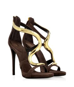 Look Here:Cacao Suede Sandals with Sculptural Gold-Toned Metal Strap