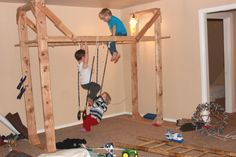 An indoor jungle gym! What a great way to stimulate young children's natural awareness of movement. #rewildyourbody