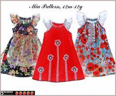 5Berries Mia PEASANT DRESS PATTERN, 3 sewing patterns in one,Girls Dress Patterns, Childrens Sewing Patterns, pdf, tutorial. $6.90, via Etsy.