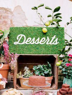 DIY Dessert Sign from Sarah Park Events, http://ruffledblog.com/diy-dessert-sign #diyprojects #weddingsigns