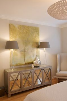 lamps, buffets, living rooms, wall paint colors, mirrored furniture, light fixtures, cabinet, bedrooms, bedroom designs