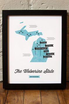 Michigan: The Wolverine State Print
