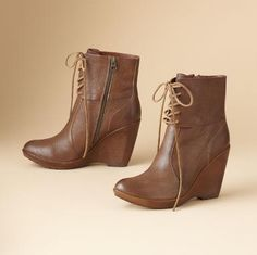 alyssa lace-up wedge booties  	  $245.00