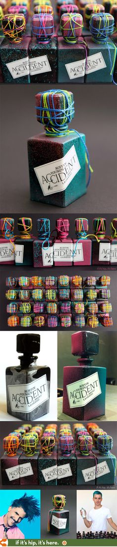 Austin Young's art perfume, Accident, has each bottle individually and uniquely packaged, numbered and signed.