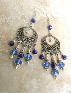 Genuine Sapphire AB Crystal Antique/Sterling Silver Spanish Gypsy Style Earrings #HANDMADE #BOHOGYPSY