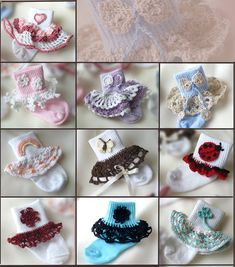 Dainty Sock Trims II Crochet Pattern - 10 Sock Trims & 10 Appliques