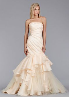 Peach Silk Satin Faced Organza Fit and Flare bridal gown, strapless asymmetrical draped bodice with crystal detail, cascade skirt with tulle accents, chapel train. Bridal Gowns, Wedding Dresses by Jim Hjelm Bridal - JLM Couture - Bridal Style jh8462 by JLM Couture, Inc.