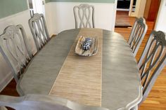 annie sloan dining table. mom you should do this w your table and chairs.