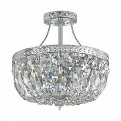 "Richmond Semi-Flush Ceiling Light in Brass, Bronze or Chrome 12"" high, 10"" diameter"