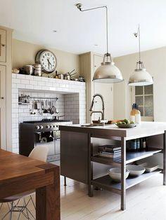 Industrial kitchen. Love the lighting.