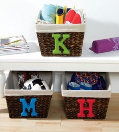 Organize with baskets customized with initials with this easy DIY project, instructions and materials just a click away.