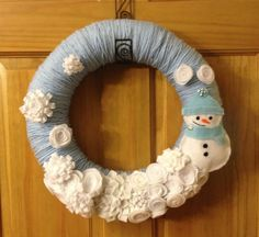 """Christmas wreath - holiday wreath - winter wreath - Felt and Yarn Wrapped Winter/Holiday Wreath with Snowman - 14"""" on Etsy, $40.00"""