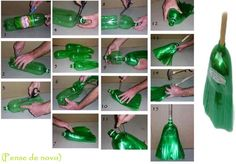 Broom made of 2 liter plastic bottles. No tute, no instructions, only the pics...but pretty self-explanatory