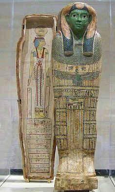 The front of the coffin is painted with pictures and magical prayers in hieroglyphs to guide and protect a woman named Ta-mit on her journey to the afterlife.  The sky goddess Nut spreads her wings protectively across the lid, and is painted on the interior of the coffin lid.