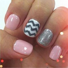 Pink nails with a gray & white chevron stripes & silver glitter accent nails