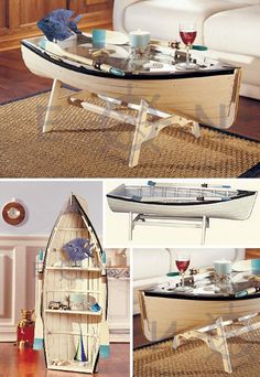 This Nautical Rowing Dory Coffee Table is 48 inches long, with a glass top! Or add the removable shelves it comes with and stand it on end to use as a bookshelf!