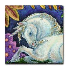MEDIEVAL UNICORN Susan Brack Fantasy Tile Coaster > FANTASY > SUSAN BRACK ART GIFT STORE
