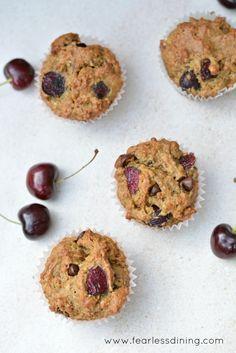 Gluten Free Cherry and Chocolate Chip Muffins    http://www.fearlessdining.com  #glutenfree  #muffins