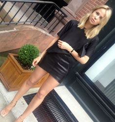 Black leather mini skirt and black t