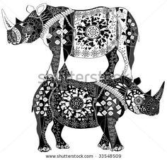 two ethnic patterned rhinos represent beautiful pyramid by Konyayeva, via ShutterStock