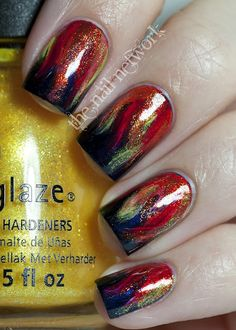 hunger games - girl on fire nails - I love this!