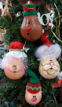 Christmas light bulb ornament Complete Santa Set. $35.00, via Etsy.