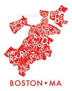 Boston neighborhood map, art prints, poster